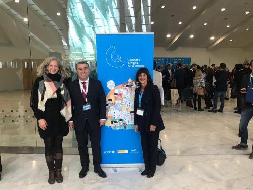 Virgilio Moreno i Alice Weber acompanyats de la presidenta del Comité de Balears d'Unicef